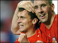 Czech strikers David Lafata and Jan Koller celebrate the win over Wales