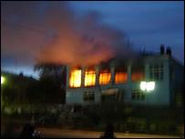 Пожар в ресторане ''Чайка'' (фото с сайта cityk.ru)