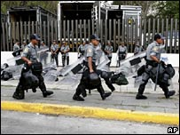 Police outside Congress in Mexico City