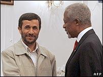 President Mahmoud Ahmadinejad and Kofi Annan