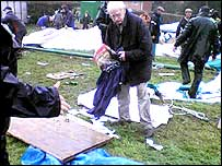 The clear-up after the tent collapse