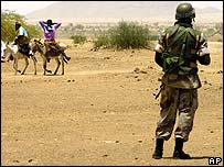 African Union soldier in Darfur, west Sudan