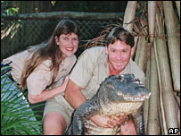 Steve Irwin with his wife, Terri, in 1999