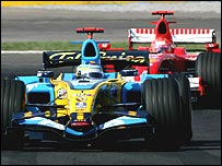 Fernando Alonso leads Michael Schumacher during the Turkish Grand Prix