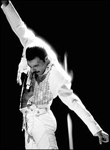 "Freddie Mercury, ""I was born to love you"" video, 1985. Simon Fowler. � Queen Productions Ltd."