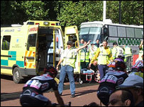 Riders and paramedics on the Mall