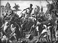 An engraving of the sepoy mutiny
