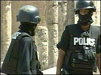 Jordanian anti-terrorist police at the scene of the shooting in Amman
