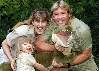 Steve Irwin with wife Terri and daughter Bindi