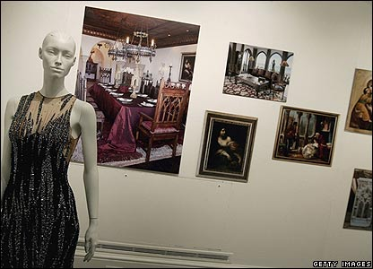 A gown and artwork owned by Cher on display at Sotheby's