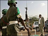 Cuarteles de la Unión Africana en Darfur.