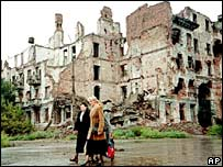 Local residents walk past destroyed buildings in Grozny. Photo: May 2001