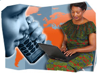 A child using a mobile phone and a woman using a laptop