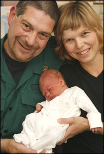 Paramedic Nich Woolf, Linda Newall and baby Luke