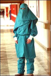 Burqua-style hospital gown