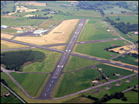 Aerial shot of Carlisle Airport