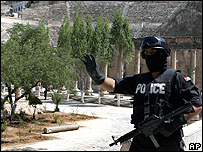 Jordanian security forces at the Roman amphitheatre in Amman