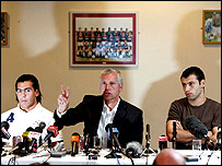 Alan Pardew at Tuesday's news conference with Carlos Tevez (left) and Javier Mascherano