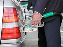 Person using petrol pump