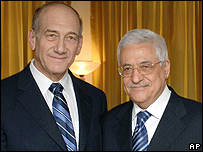 Olmert and Abbas at an informal meeting in Jordan in June