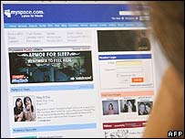 A web browser views the front page of MySpace.com