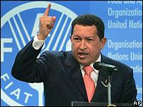El presidente venezolano, Hugo Chávez, hablando en la ONU