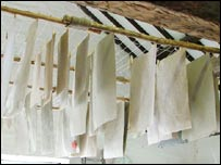 Sheep Poo Paper is hung to dry