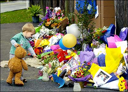 Child holding teddy near flower tributes