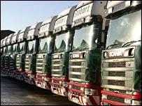 A fleet of Eddie Stobart trucks