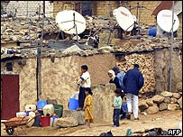 Satellite dishes on Moroccan houses