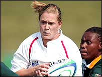 England centre Rachel Burford in action against South Africa (picture by Paul Seiser)