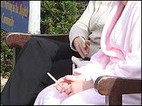 Smokers outside hospital