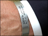 Jim Laychak's memorial bracelet for his brother, who was on AA Flight 77