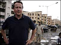 David Cameron in Bandra slum, central Mumbai