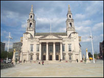 Leeds Civic Hall with Millennium Square in front