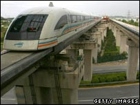 Maglev train travelling between Shanghai's airport and the city centre