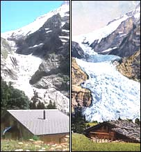 Upper Grindelwald glacier in 2000 and 1910, Alpine museum