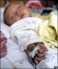 A baby with lead poisoning in hospital in Xian
