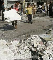 Scene of explosions in Baghdad 06 09