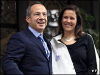 Mexico's president-elect Felipe Calderon with wife Margarita Zavala