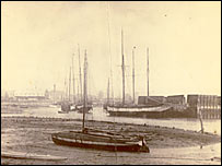 Terror moored in Emsworth harbour in 1906 (courtesy of Emsworth Museum)