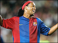 Barcelona forward Ronaldinho in club colours