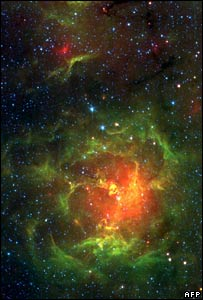 Infrared view of the Trifid Nebula