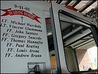Names on a fire engine