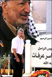 Gerry Adams at the tomb of Yasser Arafat