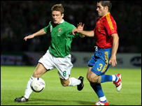 NI's Steve Davis tries to get past Spain's Antonio Lopez