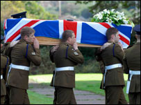 Pallbearers carry the coffin of Lance Corporal Jonathan Hetherington