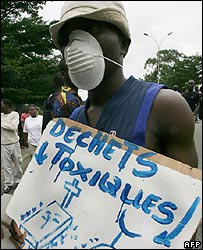 A young man demonstrates about toxic waste dumped in Abidjan