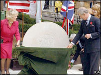 The Duchess of Cornwall and Prince Charles at the memorial garden