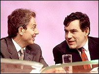 Tony Blair and Gordon Brown share the party conference platform in 1999